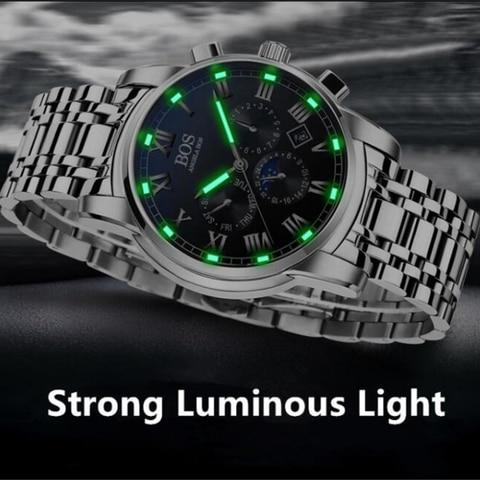 Relogio Masculino ANGELA BOS Waterproof Week Month Date Watch Men Fashion Luminous 12/24 Hours Quartz Wrist Watch Clock Saat Multan