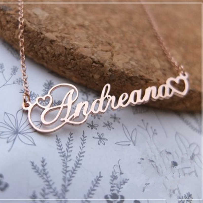 Personalized Name Custom Necklace Women Bridesmaid Jewelry Gold Silver Love Heart Stainless Steel Choker Chopinscript Nameplated