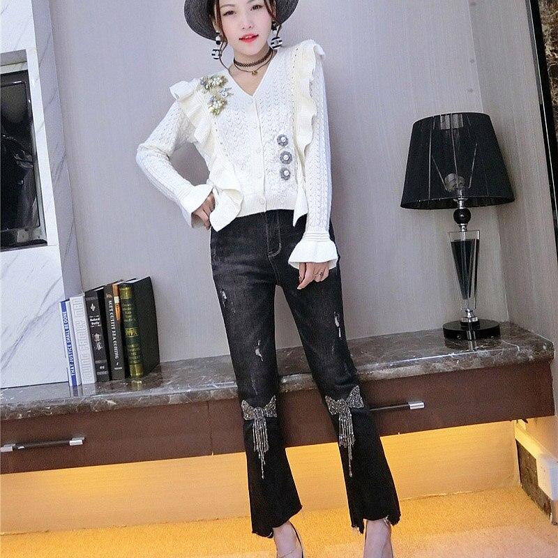 Automne Marque Haut Pantalon Stretch Jeans parleur Neuf Arc Slim Noir Femelle Mince Sequin 2018 Taille Mi Marée Cowboy Gland Nouveau Femmes pxIwyOgt