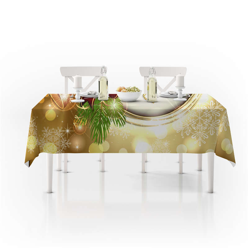 Christmas bow bells printed polyester tablecloth oil and stain resistant table mats napkins home kitchen decoration