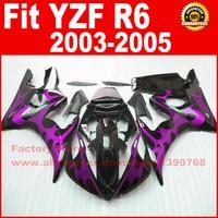 free motorcycle fairings set for 2003 2004 2005 YAMAHA R6 03 04 05 YZF R6 purple flame fairing kits body repair parts
