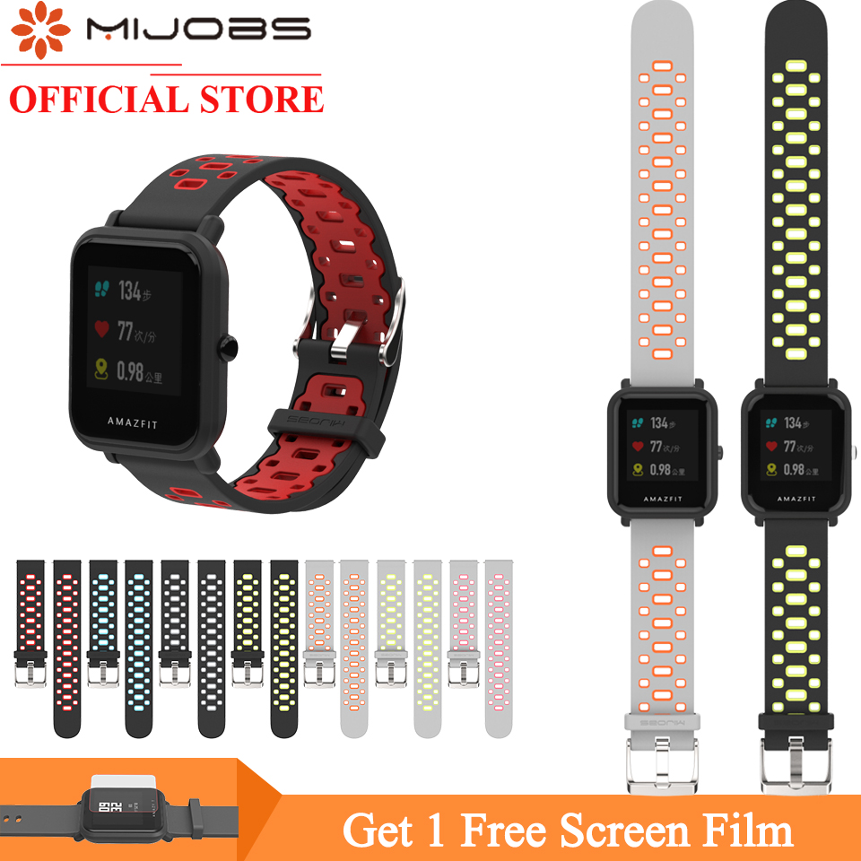Mijobs 20mm Sports Silicone Wrist Strap for Xiaomi Huami Amazfit Bip BIT PACE Lite Youth Smart Watch Band Bracelet Wristbands mijobs 20mm silicone wrist strap protective case cover plastic pc shell for huami xiaomi amazfit bip bit pace lite smart watch