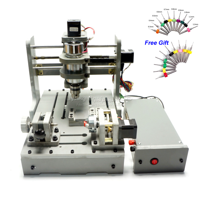 USB Mini Lathe Woodworking Machine 4 Axis CNC Wood Router 3D Engraving With Rotary 300W Spindle For PCB Milling
