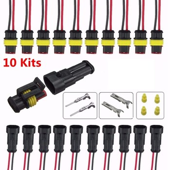 10 Kits Car 2 Pin Way Sealed Waterproof Electrical Wire Connector Plug Terminal For Car Truck Vehicle Motorbike Universal