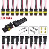 10 Kits coche 2 Pin sellado de vía cable eléctrico a prueba de agua conector Terminal para coche camión vehículo motocicleta Universal