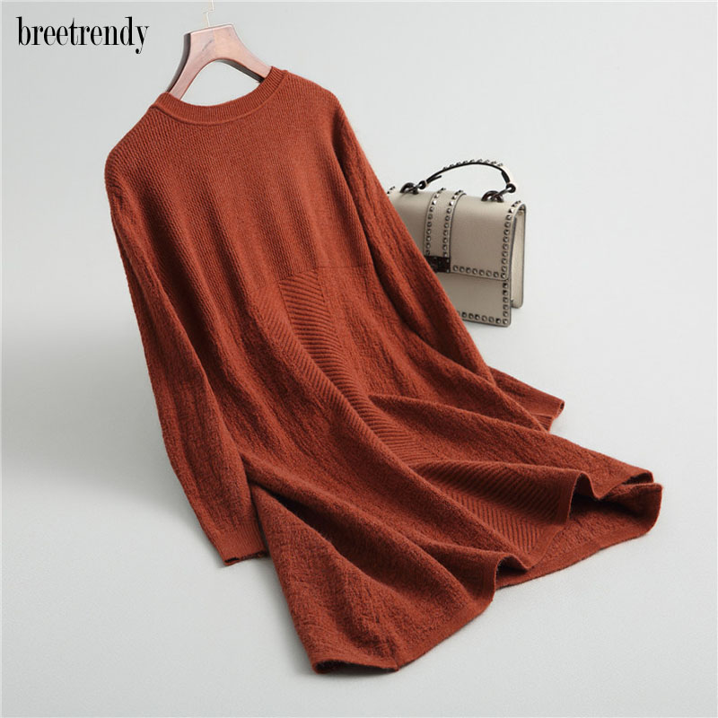 MY1727 Women winter dress new Long Sleeve kknitted Cashmere Sweater Dress Mujer invierno Ladies Dresses pullovers