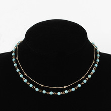 New Beads Double Layered Choker Chain Necklace Women Exquisite Clavicle Short Necklace Jewelry цена