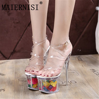 f7936437bce18 Fashion Plastic Women Sexy High Heel Sandals 18Cm Heeled With 7 5Cm  Platform Shoes Women Summer