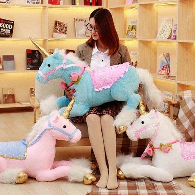 9a406543243 Kawaii Big Unicorn Plush Toy 90cm Pink Cartoon Horse Stuffed Toys Cute  Animals Licorne Pillow Soft Toys for Children Girl Gifts