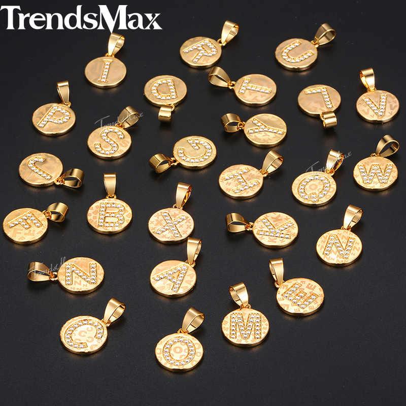26 liter naszyjnik z inicjałami dla kobiet dziewczyn złota nazwa monety naszyjnik listowy alfabet Kolye Collier biżuteria prezenty hurtowo KGPM23