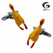 iGame Screaming Chicken Cuff Links Yellow Color Brass Material Unique Vent Chick Design Free Shipping