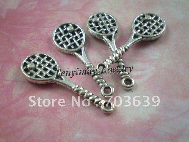 Antique Silver Color Pendants, Tibetan Silver Color Charms, Fashion Metal Badminton Racket Charms, Alloy Racket Pendants