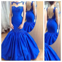 Sexy Mermaid Evening Dresses 2016 Unique Beaded Royal Blue Long Prom Gowns For Girls Stain Beauty Pageant Dress