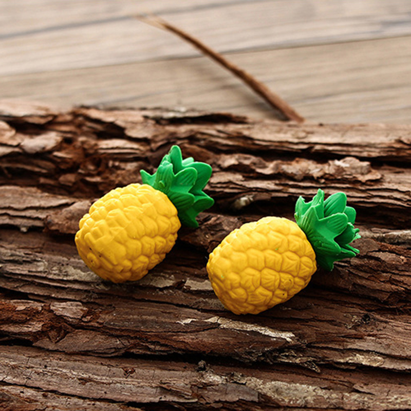 2 Pcs Cute Yellow Pineapple Pencil Eraser Student Prizes For Kids School Supplies Stationery Promotion Gifts