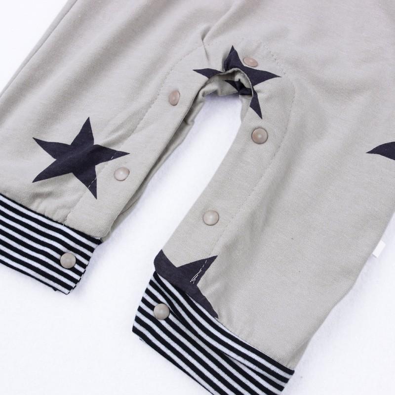 Baby Boys Baby Girls clothing set Newborn baby black grey striated T-shirt+ bib pants + hat stars pattern costumes suits (8)