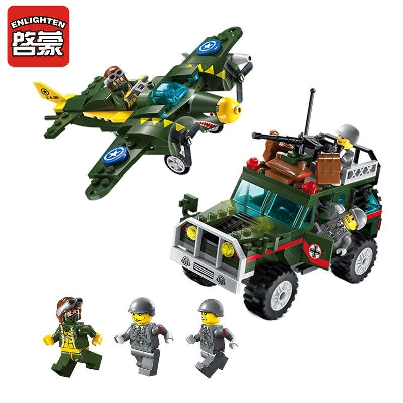 Éclairer WW2 militaire combattant jeep modèle militaire US armée pilote soldat Figure bloc de construction brique bricolage enfant jouet cadeaux lego
