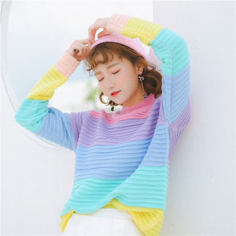 Autumn and winter college wind students cute rainbow stripes splicing long sleeved Turtleneck women knitted sweater