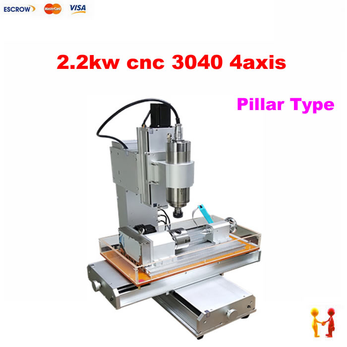 Super quality 2200W CNC Cutting machine 3040 With 4 Axis CNC Milling Machine Frame And Router Metal water tink cnc machine frame 3040z dq ball screw cnc milling cutting router
