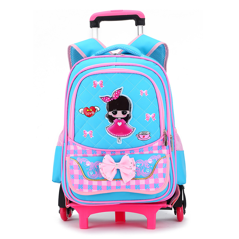 ФОТО Cartoon Backpack Boys Trolley School Bag Classic Travel Luggage Suitcase On Wheels Kids Rolling Backpack Girls Book Bags Bolsas
