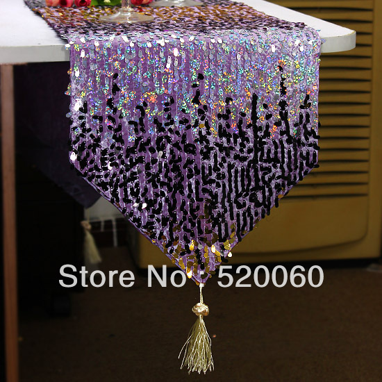 Shiny Purple Gold Black Glitter Silver Oval Sequins Tel Luxury Table Runner Flag Cloth Dining Outdoor Home Decorations In Runners From