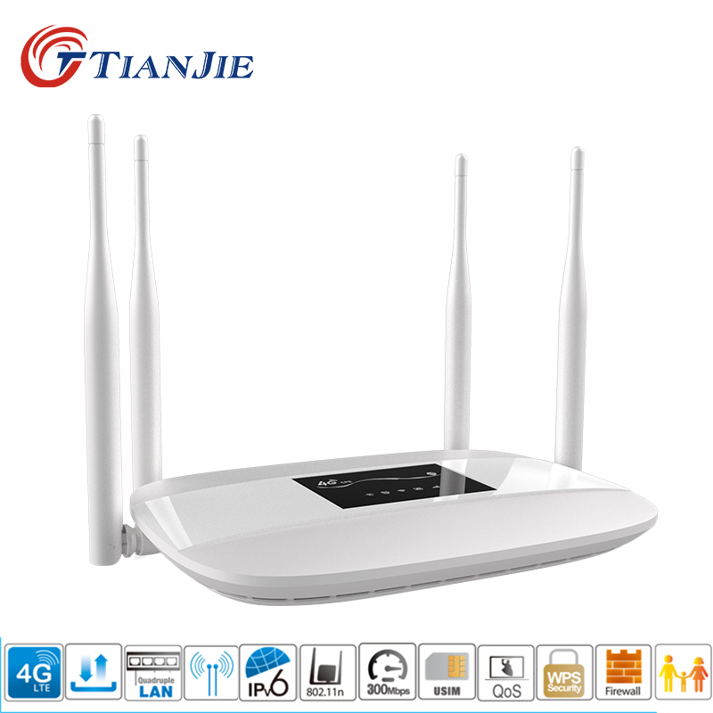 TIANJIE Unlocked 300Mbps 4G LTE Wifi Router Hotspot 4 external antenna CPE Router Support RJ45 Port