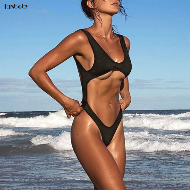 d6ed6276f5867 High Cut Thong Swimsuits One-piece Monokini Black Hollow Out Bodysuits  Brazilian Girls Beach Suits 1 Pieces Trikinis Swim Suits