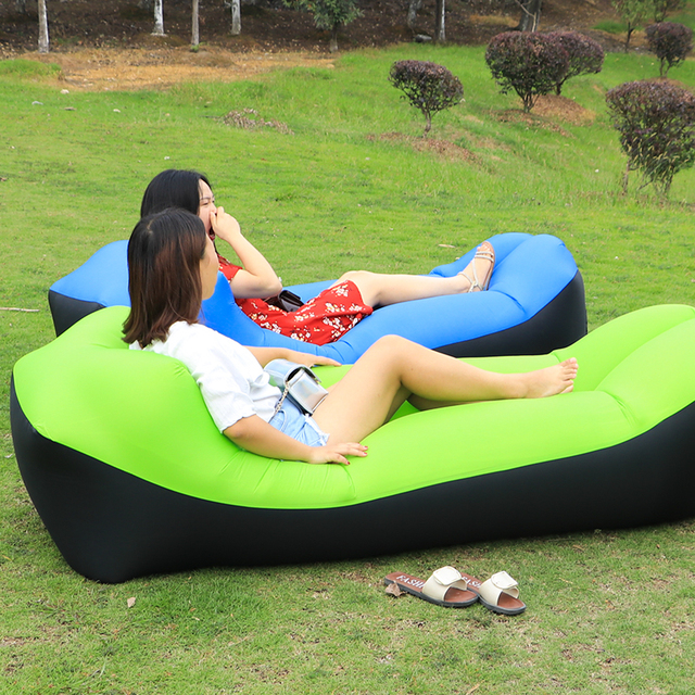 Fast Inflatable Lazy Bag Air Sofa Nylon Ultralight Lay Bag Banana Bed  Inflatable Lounge For Camping