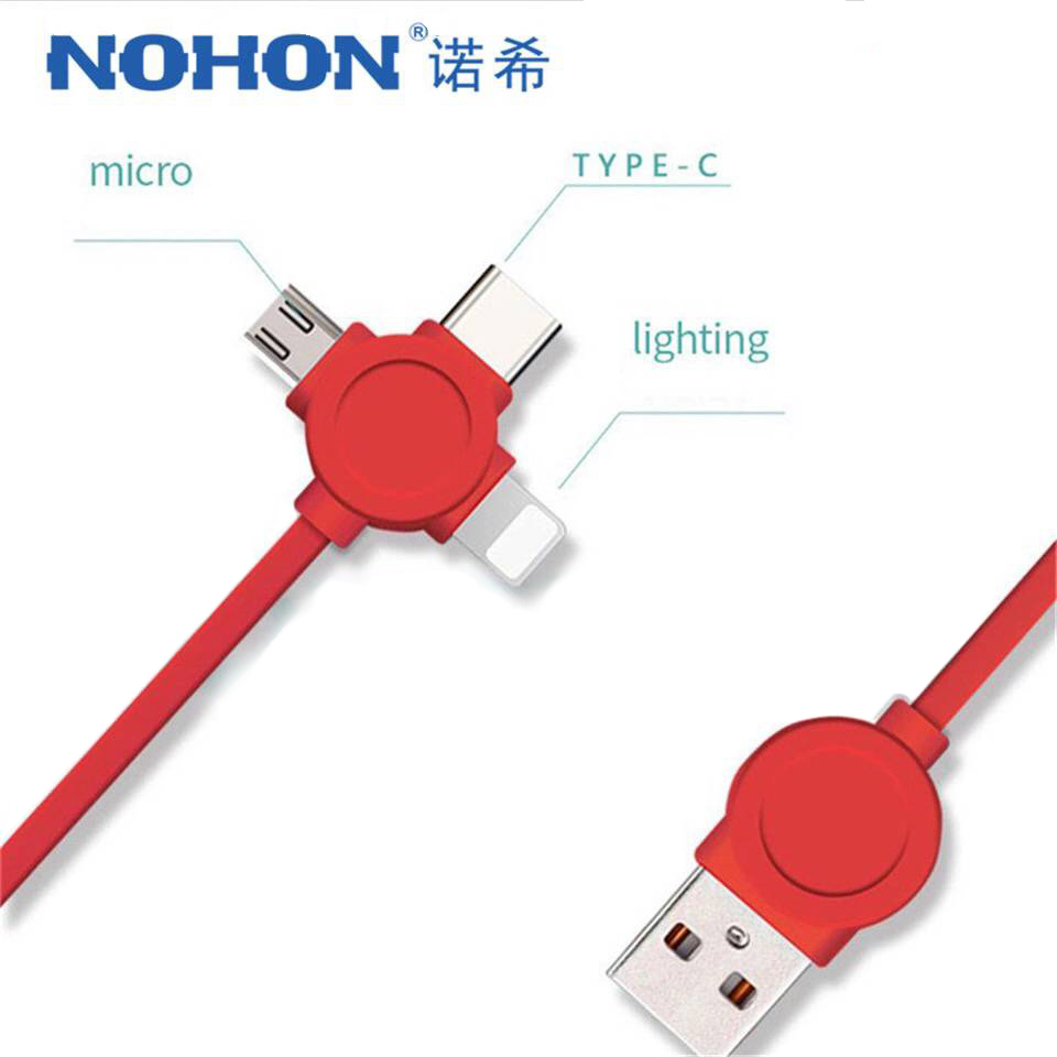 Galleria fotografica NOHON 3 in 1 USB Cable Type C Lighting Charge Cable For iPhone X 7 8 Plus IOS For Xiaomi Huawei Samsung Fast Charging Cables 1M