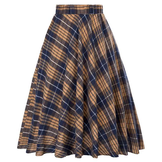 ef4c7232f6d83a Geel Rood Plaid Rok Vrouwen Vintage Rasterpatroon Britse Zomer Casual  Skater Rok Femme Saia Hoge Taille
