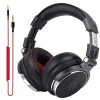 צגים DJ Wired אוזניות מעל אוזן DJ מקצועי סטודיו אוזניות סטריאו Wired אוזניות אולפן אוזניות למחשב טלפון