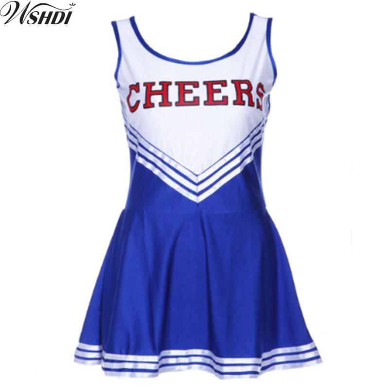 2018 Female Sexy High School Cheerleader Costume Cheer Girls Uniform Party Fancy Dress Plue Size XS-XL