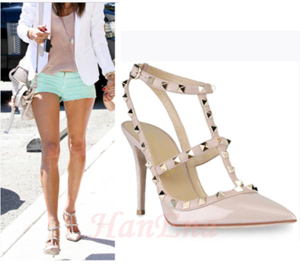 Women Pumps Pointed Toe High Heels Studded Stiletto High Heel Sandals Shoes