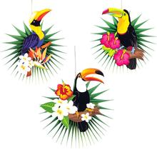 Tropical Party Hawaiian Decorations 3pcs Hanging Paper Fans Flamingo Toucan Palm Leaves Pattern Summer Birthday Luau Decor