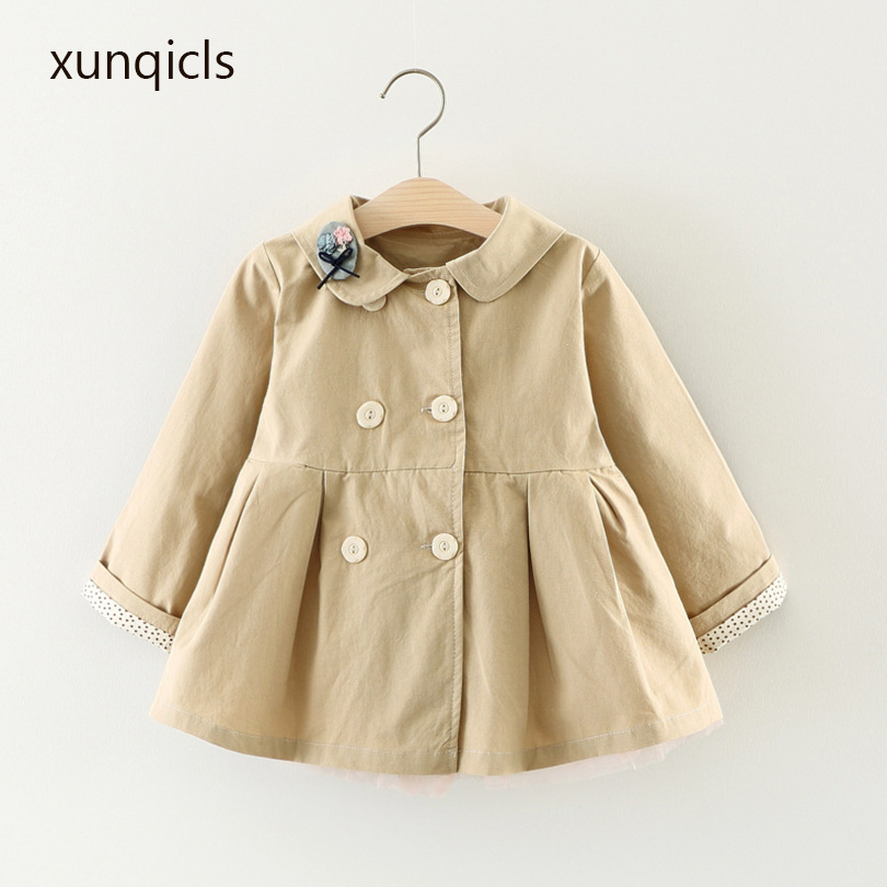 xunqicls New Children Girl Coat Autumn Spring Baby Jackets Double Breasted Kids Long Sleeve Outerwear Clothes stylish lapel long sleeve double breasted plus size coat for women