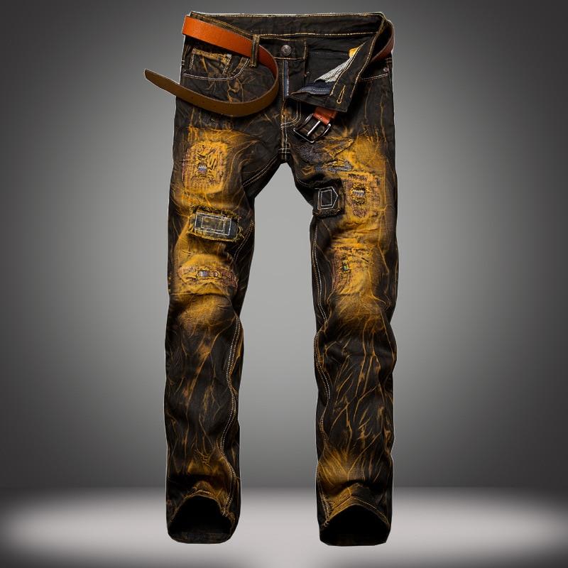 classic casual men's jeans Men Retro Hole Ripped Jeans Straight Slim Fit Cargo denim Trousers Fashion Biker Jeans Male 2 color new arrival high quality mens jeans casual straight hole jeans men denim trousers biker jeans homme ripped jeans hip hop