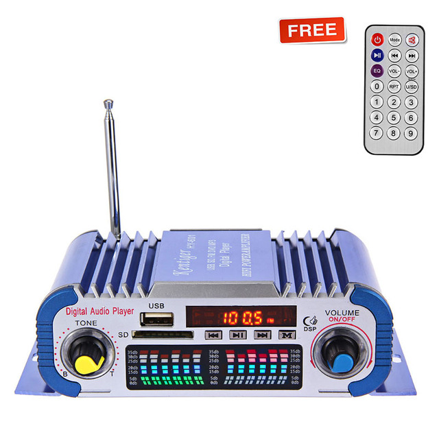 HY601 12V Digital Auto Car Stereo Power Amplifier 2 Channel Sound Mode LED Audio Music Player MP3 Speaker Support USB DVD SD FM