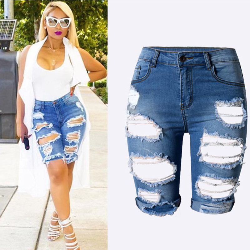 Plus size 3XL Women's Sexy Ripped Hole Washed Distressed Midi Short Jeans Hight Waist Slim Stretchy Denim Shorts
