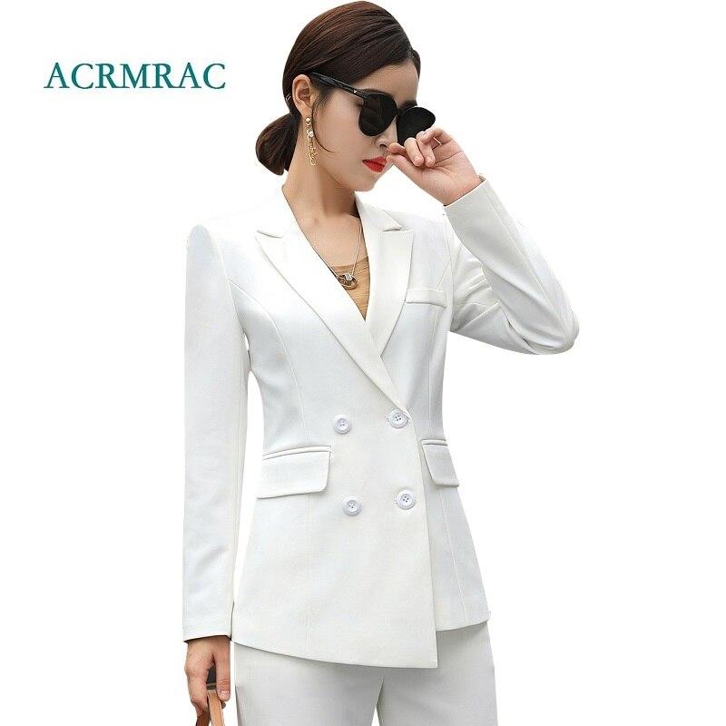 Acrmrac Women Suits New Autumn Slim Asymmetry Jacket Wide Leg Pants