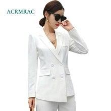 ACRMRAC Women suits new autumn Slim Asymmetry jacket Wide leg pants Suit OL Formal Womens business
