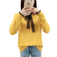 2019 New Women's Spring Sweater Fashion Long Sleeved Stitching Bottoming Knitwear Autumn Korean Loose Ladies Knit Pullover Vs392