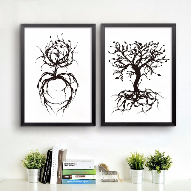 El árbol De La Vida Arte De Pared De Fotos Blanco Y Negro Moderno
