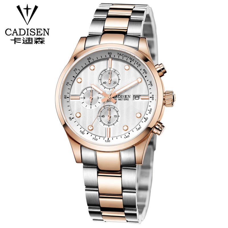Cadisen 2016 Luxury Multifunction Watch Auto Date 6 Pointer Steel Watch Men 5Atm Waterproof font b