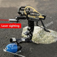 Green Laser Slingshot Black Red Hunting Slingshot Catapult Outdoor Powerful Fishing Slingshot for Shooting Arrows Crossbow Bow