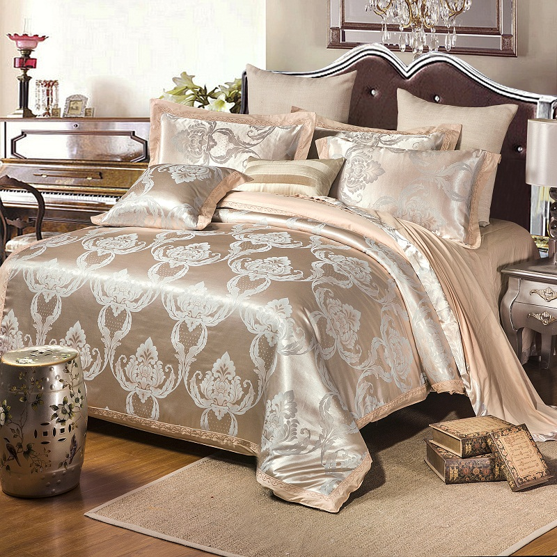 Coloré luxe nouveau Design Satin ensembles de literie broderie coton literie ensemble reine roi taille drap de lit housse de couette taies d'oreiller