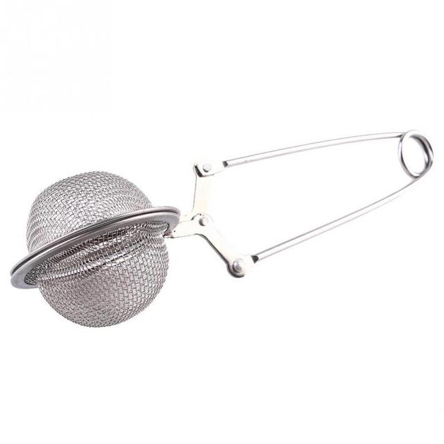 New Tea Strainer Filter Stainless Steel Bag Squeezer Infuser With Handle Steep Silver