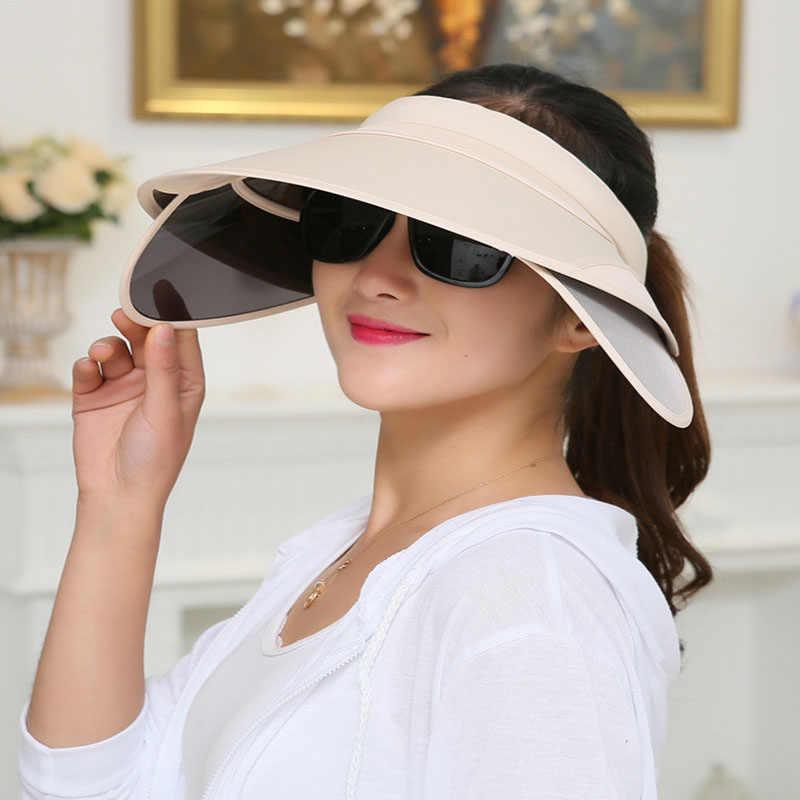 0497224b602b50 ... Korean Flexible Air Top Women plastic Sun visor Hat Summer Fold  Sunscreen Outdoors Sandy Beach Defence ...