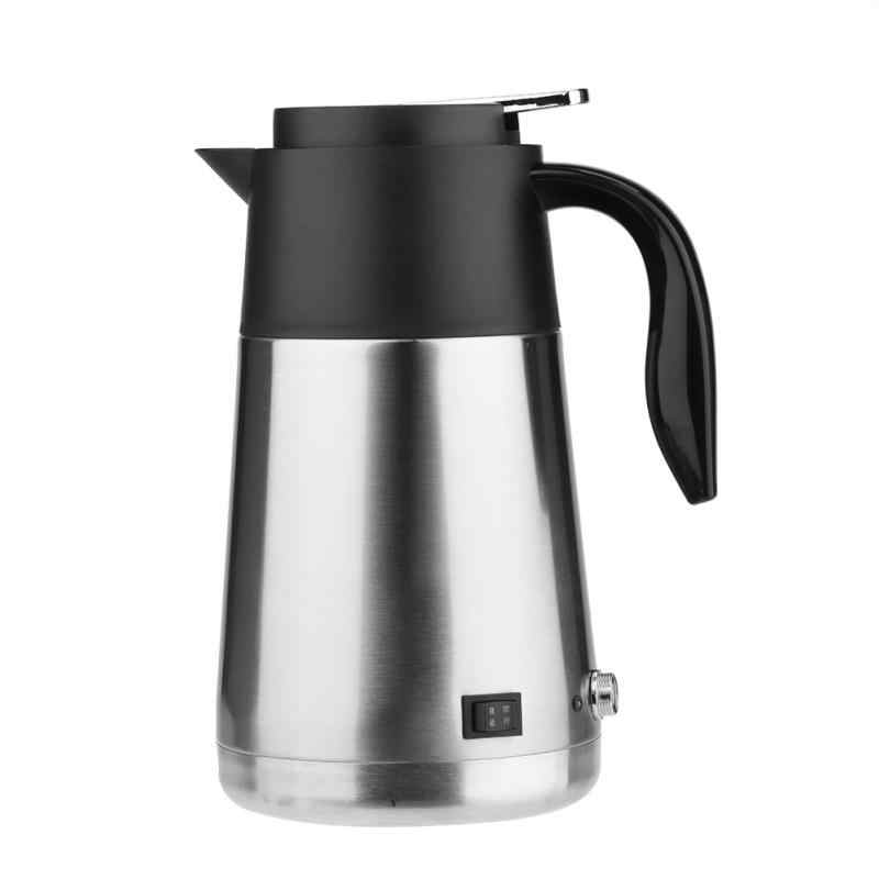 12/24V Portable 1300ml Stainless Steel Electric Heating Cup Boiling water Bottle Car Truck Kettle Water Heater for Travel