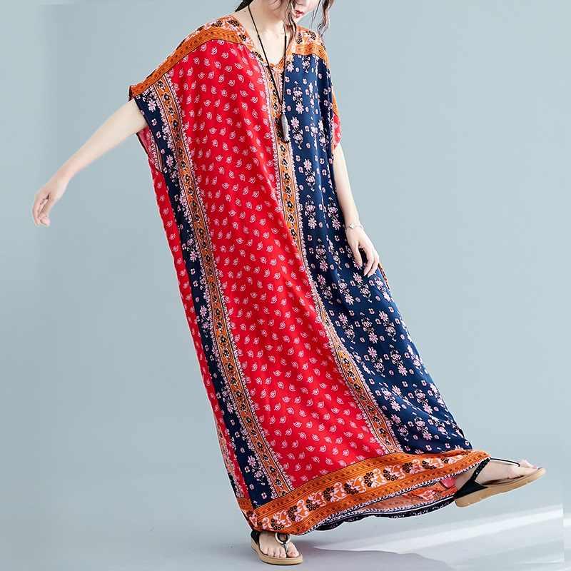 Хлопок Винтаж Цветочный плюс размер женские повседневные свободные макси длинное летнее пляжное платье от солнца элегантная одежда 2019 женские платья Сарафан