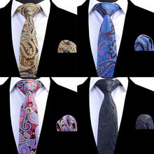Ricnais Silk Tie for Men Black Floral Paisley Tie and Handkerchief Set Man's Ties Corbatas Hombre Pocket Square Wedding Necktie(China)