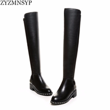 ZJVI Sexy Stretch soft genuine leather women Riding knee thigh high boots autumn winter woman chains black shoes ladies boot
